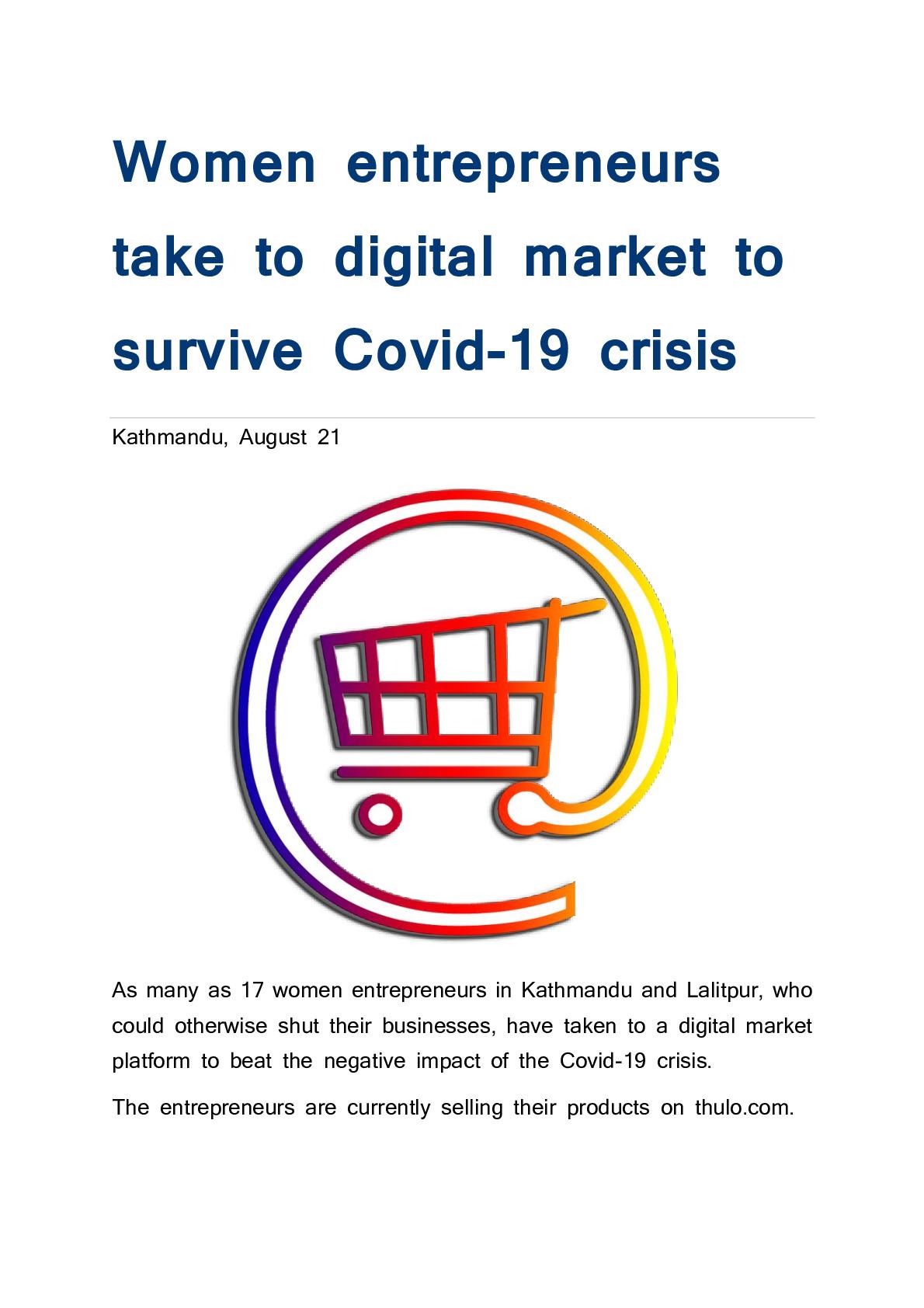 Women entrepreneurs take to digital market to survive Covid-19 crisis